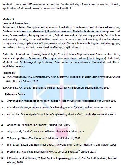 Time Table & Syllabus - Engineering Physics - Theory (PH100
